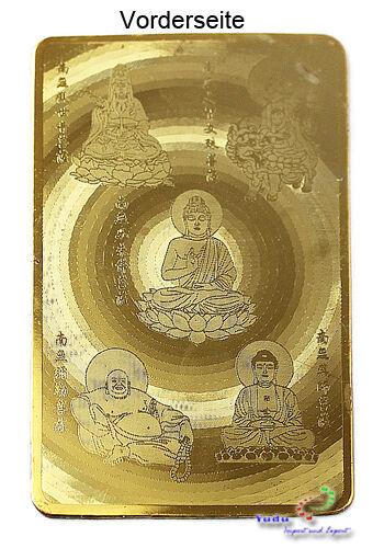 """Goldene Karte  /""""5 versch Buddha/""""  Amulett Glückskarte Nr:2012100113"""