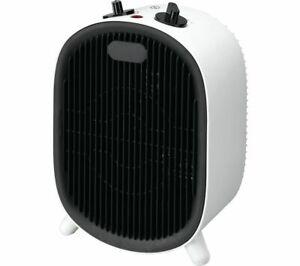 ESSENTIALS C20FHW20 Desk Fan Heater 2000W Dial Control Black & White - Currys