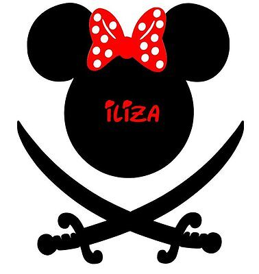 DISNEY  PIRATE MICKEY MINNIE  MOUSE  PERSONALIZED T-SHIRT IRON ON TRANSFER