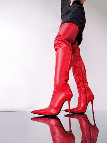 Støvler Stiefel Custom Couture Shoes Red Sexy 45 Overknee Cq Leather Xw7f1Ixq16