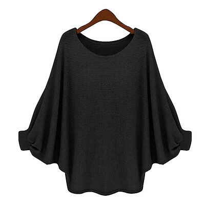 Ladies Long Sleeve Oversized Batwing Sweater Womens Batwing Knitted Jumper Tops