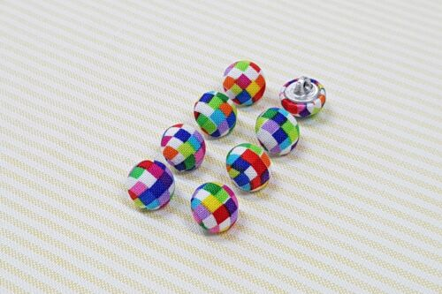 Half Ball Style 8 Colorful Small Square Pattern Fabric Covered Buttons 12mm