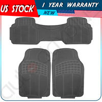 Car Floor Mats For All Weather Rubber 3pc Set Front & Rear Heavy Duty Black on sale