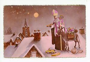 St-Nicolas-Antique-French-Santa-Claus-RPPC-Purple-Robe-Donkey-Toys-Photo-CPA-30s