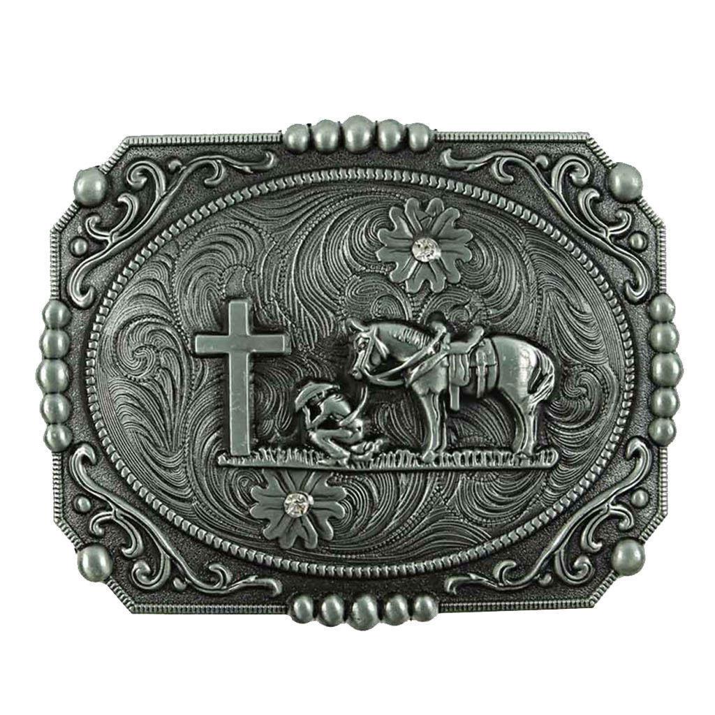 ✖ WESTERN STEER Cross Cowboy Horse Faith Rodeo Style Large Belt Buckle Buck ✖USA