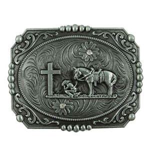 WESTERN-STEER-Cross-Cowboy-Horse-Faith-Rodeo-Style-Large-Belt-Buckle-Buck-USA
