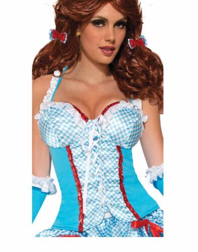 Farm Girl Femme Adulte Dorothée Magicien D/'Oz Costume Accessoire Corset-STD