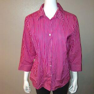 69d6d39b Foxcroft Button Down Shirt Size 10 Womens Blouse Pink Striped Shaped ...