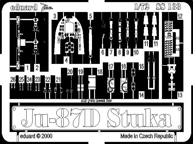 Eduard Models Photoetch for 1/72 Junkers Ju 87D Stuka for Italeri kit
