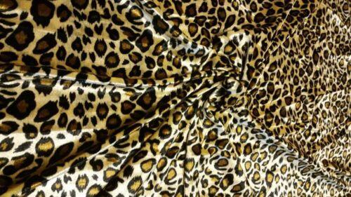 Jersey Stretch Velours Velours Imprimé Léopard Tissu Matériau NAPPES RIDEAUX