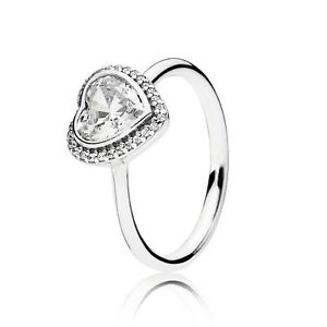 NEW-Authentic-Pandora-Silver-925-Sparkling-Love-Heart-Ring-190929CZ-Size-6-52