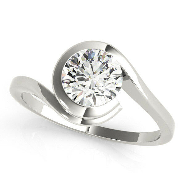 Real 0.50 Ct Diamond Round Cut Engagement Ring 14K Solid White gold Size 8