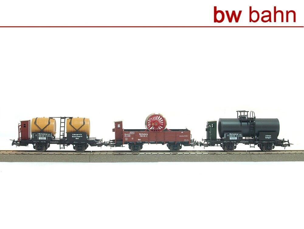 Sachsenmodelle H0 14111 Güterwagen-Set Württemberg Faßwagen Kesselwagen Neu