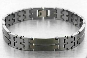 7c037a0ba6daf Details about 12mm TUNGSTEN CARBIDE BRACELET MENS SMOOTH LINK HIGH POLISH  AND MATTE FINISH NEW