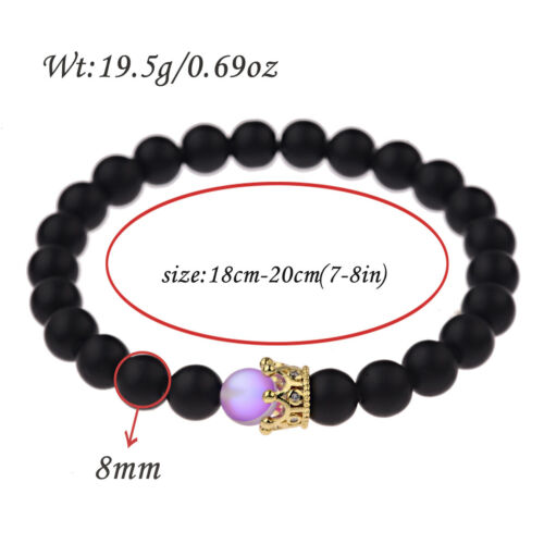 Charme Mystic Aura Quartz Pierres précieuses perles 8 mm pierre naturelle Couronne couples Bracelet