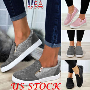 Fashion-Women-Casual-Hollow-Out-Sneakers-Platform-Flat-Rhinestone-Snakeskin-Shoe