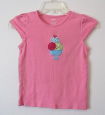 Girls Gymboree 7 Ice Cream Sweetie Pink Top Cap Sleeves Applique Rhinestones