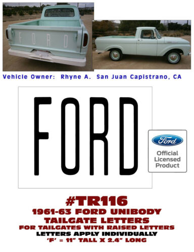 LICENSED TAILGATE LETTERS DECAL TR116 1961-63 FORD UNIBODY PICKUP TRUCK