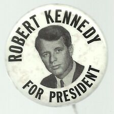 ROBERT KENNEDY FOR PRESIDENT 1968 BLACK, WHITE PICTURE PIN