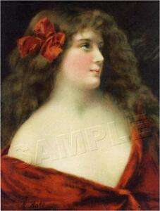 VICTORIAN LADY in Red CANVAS Art ANGELO ASTI Brunette *CANVAS* Antique Art Print