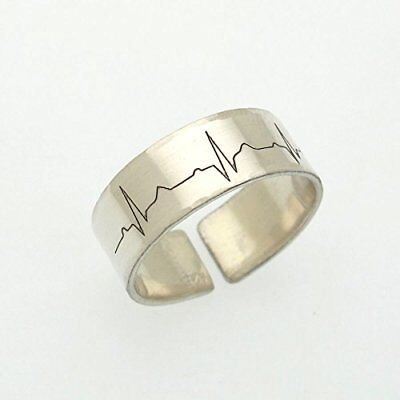 925 Sterling Silver Fine Collection Of Sterling Silver Small Heartbeat Ring