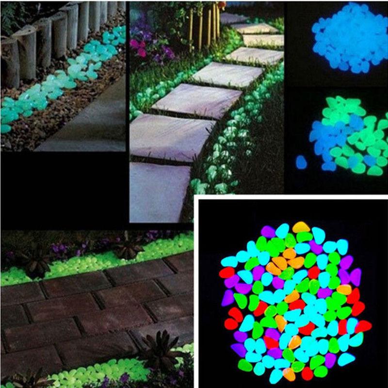 100//200//300 Leuchtsteine Leuchtkiesel Solarsteine Nachtleuchtend Garten Dekor DE
