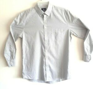 Mens-Stafford-Oxford-White-Grey-Pinstripe-Wrinkle-Free-16-5-34-35-Dress-Shirt