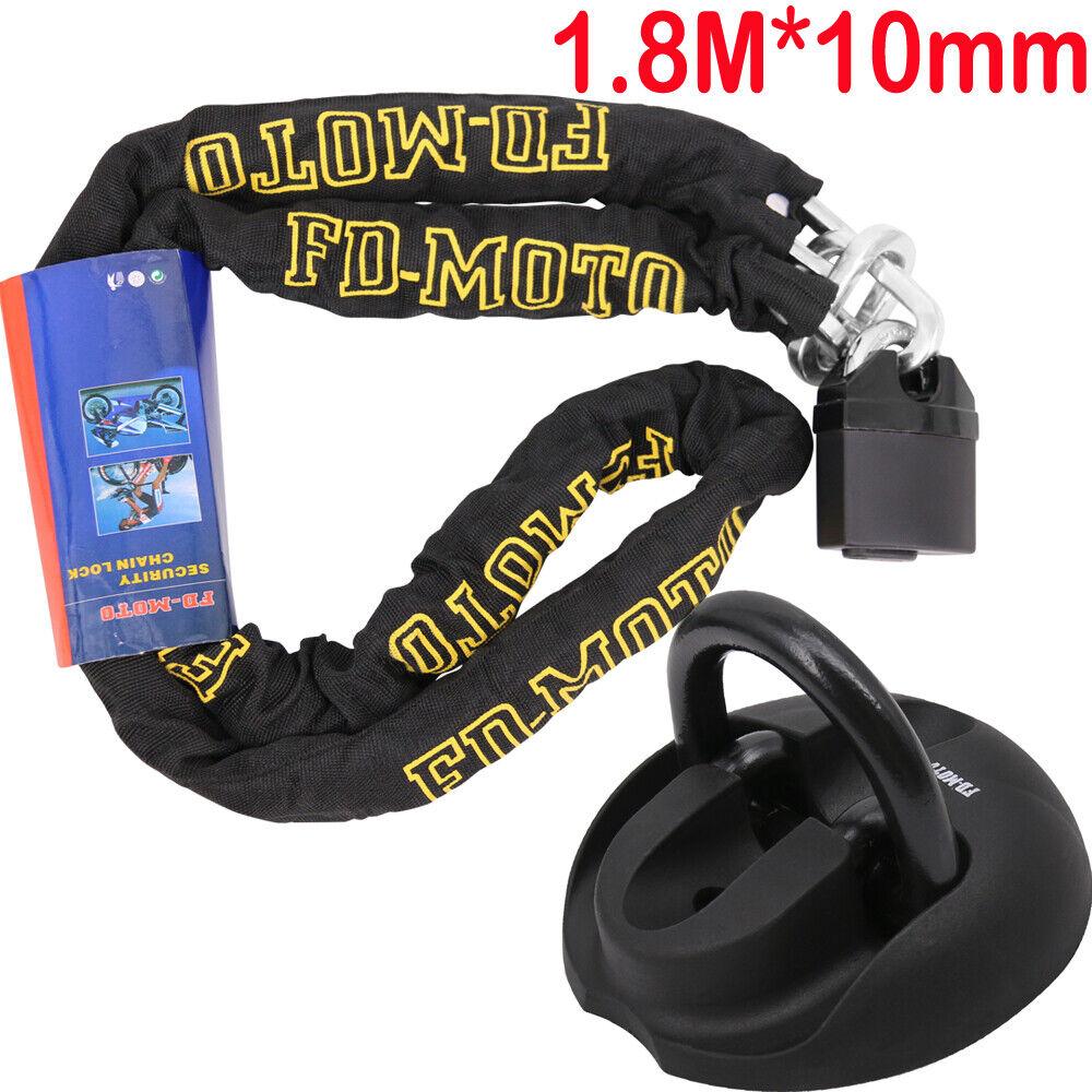 FD-MOTO 1.8M*10mm STEEL Heavy Duty Motorbike Chain Lock Padlock Sold Secure Oxford OF439 Motorcycle Ground Anchor
