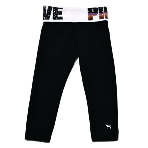 Victoria's New Pant Legging Pink Logo Athletic Yoga Secret Crop Foldover Pants PraSP1n