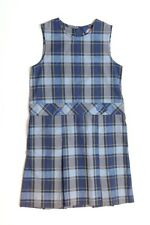DICKIES Girl's Blue Plaid School Uniform Dress Jumper Sz 8 Regular EUC