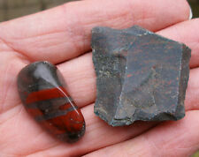 2 x BLOODSTONE *1 ROUGH UNPOLISHED  1 POLISHED TUMBLESTONE * GIFT BAG * ID CARD