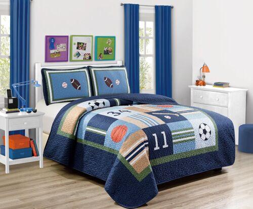 Fancy Linen 3pc Full Bedspread Set Sport Navy Football Basketball Baseball New