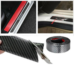 100cm Carbon Fiber Car Door Scuff Plate Sill Cover Panel Guard Step Protector