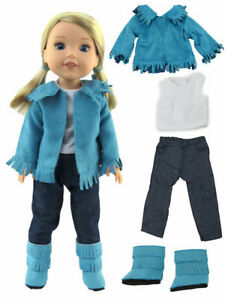 """Red Horse Jean Skirt Outfit Fits Wellie Wishers 14.5/"""" American Girl Clothes"""