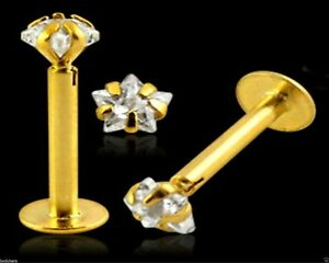 14ct Carat Genuine Gold Labret Monroe 3mm Star Gem Claw Set Tragus Lip 16g 8mm