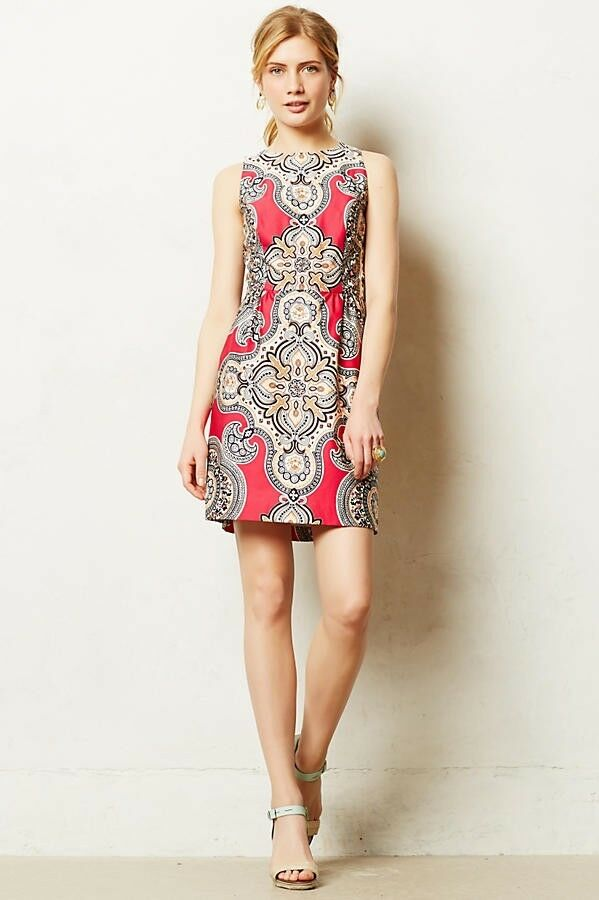 New  158 Anthropologie Giedi Medallion Paisley Fuchsia Sheath Dress Sz 4