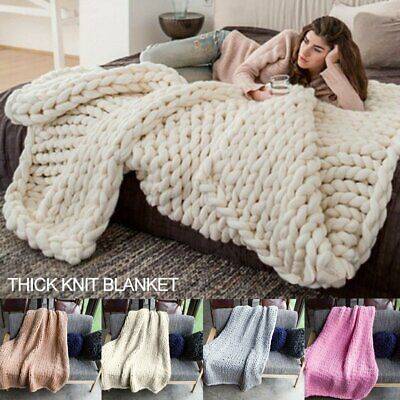 Large Soft Chunky Knitted Thick Blanket Hand Yarn Wool Bulky Throw Blanket fq