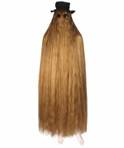 """Brown 66/"""" Long Straight Wig Cosplay The Addams Family Cousin It Costume HM-1133"""