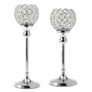 2-Pack-Silver-Globe-Pillar-Votive-Candle-Holder-Wedding-Banquet-Centerpiece