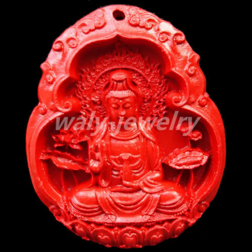 Uncommon Red Cinnabar Hand Carved Kwanyin Pendant Bead 60x40x7mm Q131