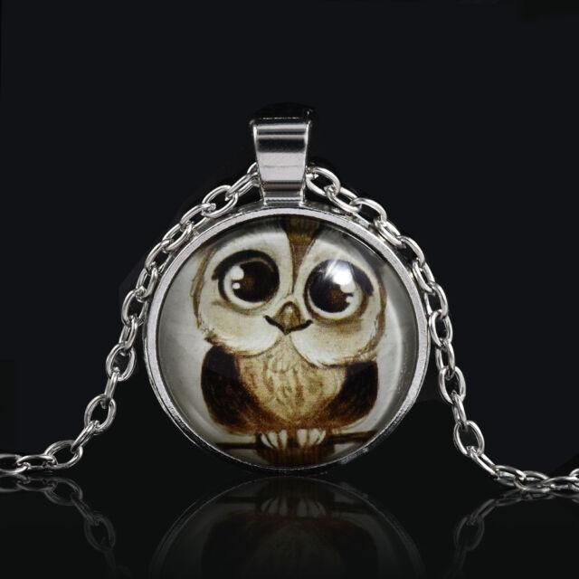 Vintage Animal owl Photo Cabochon Glass SilverChain Pendant Necklace Owl Jewelry