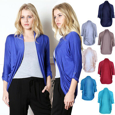 Comfy Solid Rayon Open Front Roll Up Long Sleeve Jersey Draped Knit Cardigan