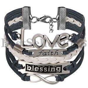 Image Is Loading Handmade Love Blessing Faith Leather Bracelet For Women