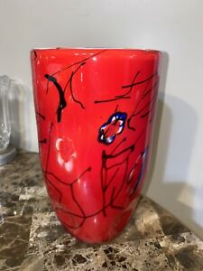 Vase-Blown-Glass-Murano-Red-Black-Lines-White-Yellow-Flowers-Dimples-at-Base