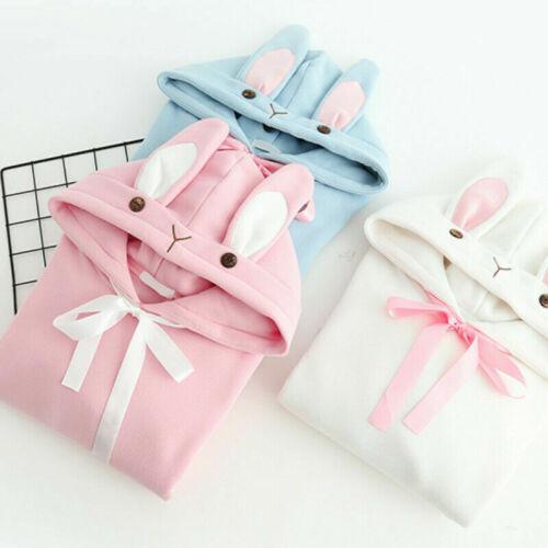 Lady Girl Hoodie Pullover Sweatshirt Sweet Cute Hooded Bunny Ear Top Kawaii Chic