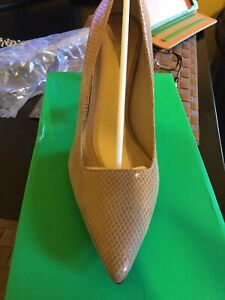 J Renee Womens Alipha Leather Embossed Snake Skin Pumps US Size 11m Tan