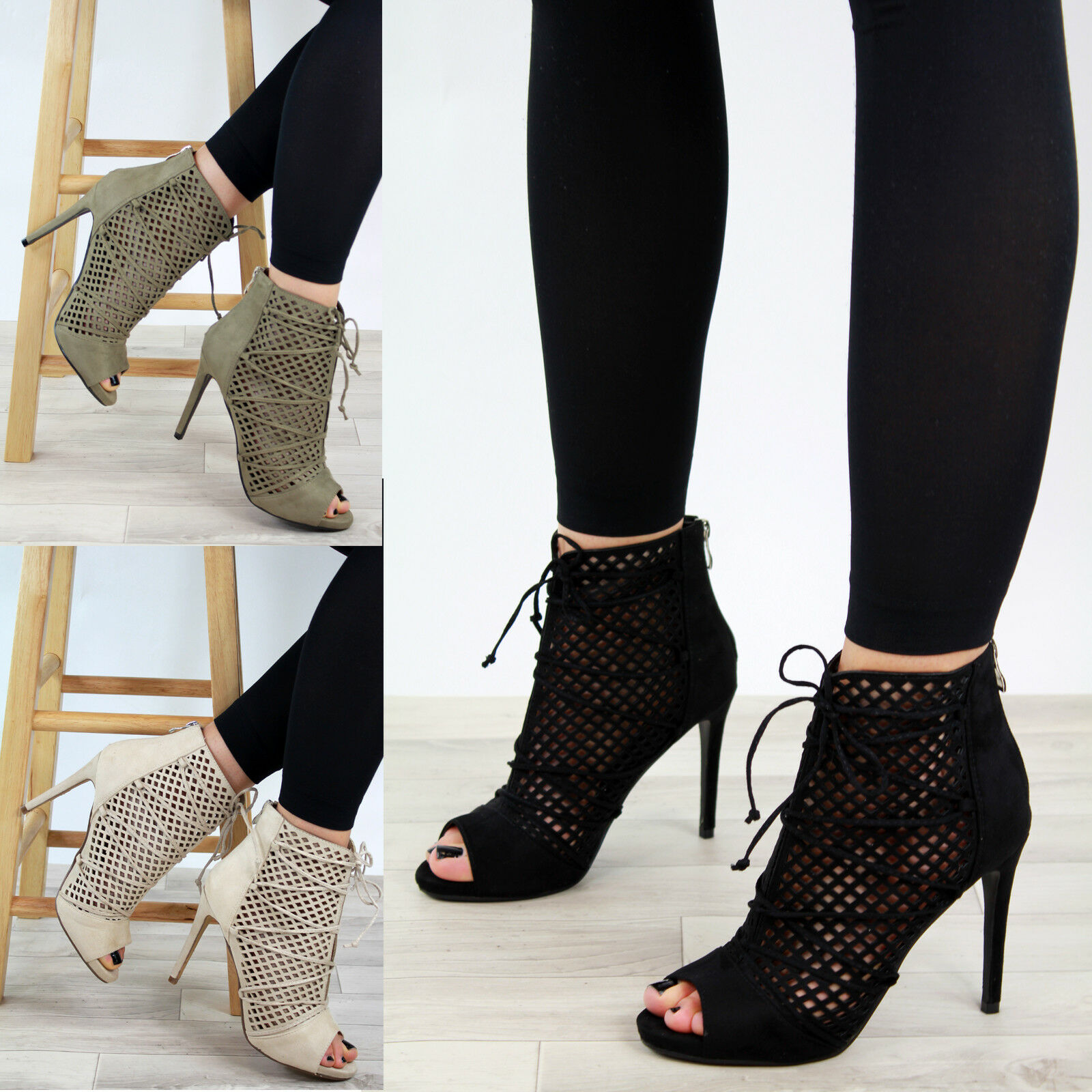 New Womens Stiletto High Heel Sandals Peep Party Toe Back Zip Mesh Party Peep Shoes Sizes b45de9