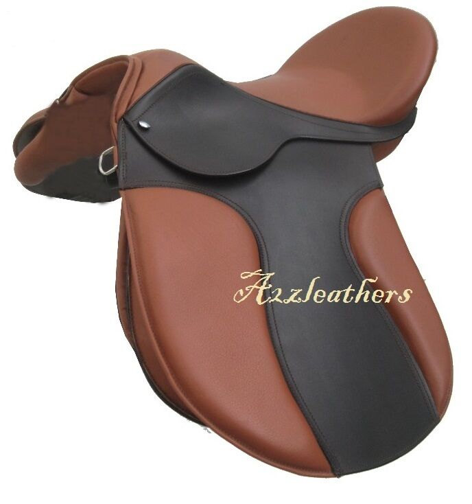 Tan Brown Leather Treeless jumping Saddle in double pad with accessory, 4 sizes