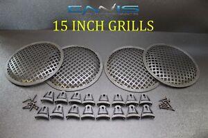 15 INCH STEEL SPEAKER SUB SUBWOOFER GRILL FINE MESH W// CLIPS SCREWS GT-15 4