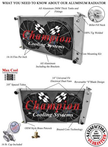 "1971-1990 Chevy Caprice Radiator 28/"" Core Aluminum /& Dual 14/"" Fans 161"